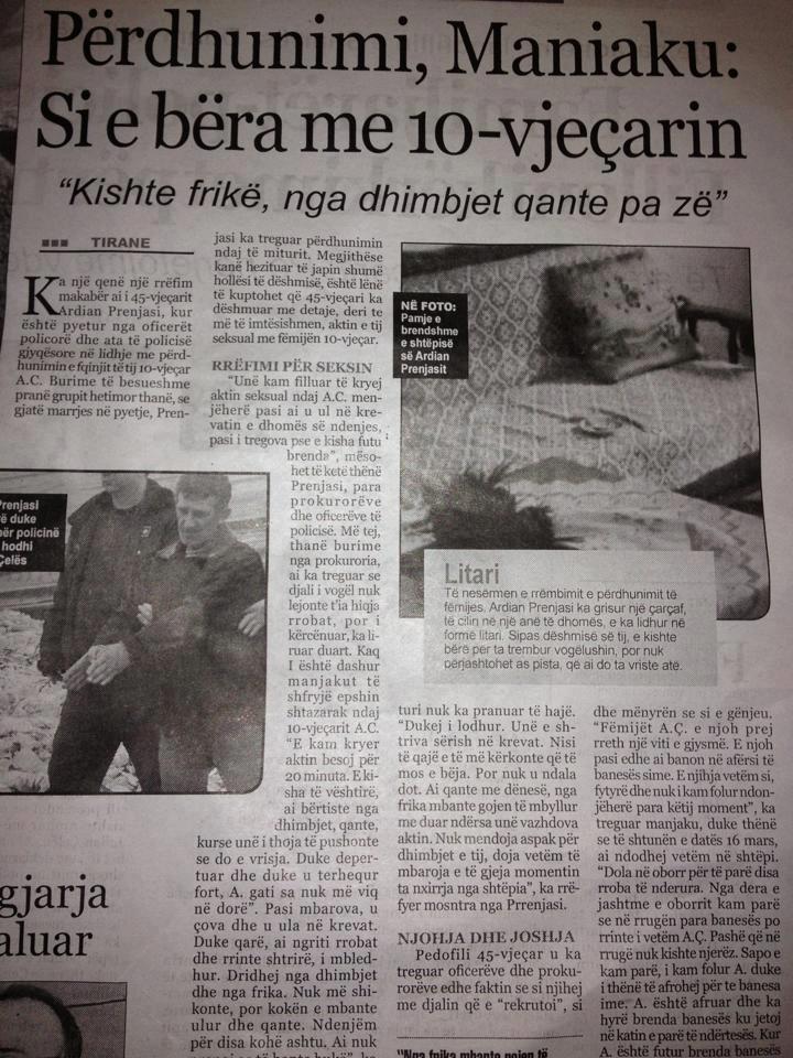 gazeta shqiptarja com detajet e perdhunimit te pedofilitjpg