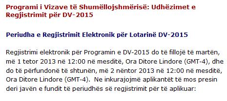 Llotaria amerikane DV – 2015 Aplikimet ne date 1 tetor 2013 – Data