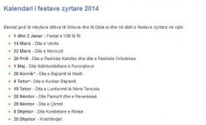 festat zyrtare 2014